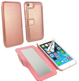 tuff luv iphone 7 rose gold slim leather vanity mirror case. Black Bedroom Furniture Sets. Home Design Ideas